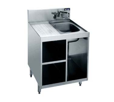 KR18-24SC Krowne Metal - Royal 1800 Series Underbar Chemical Storage Cabinet drainboard top with sink