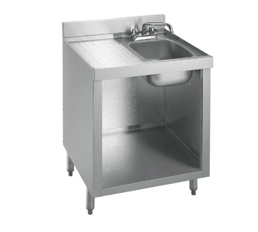21-GW2 Krowne Metal - Standard 2100 Series Underbar Glass Washing Cabinet drainboard top with sink