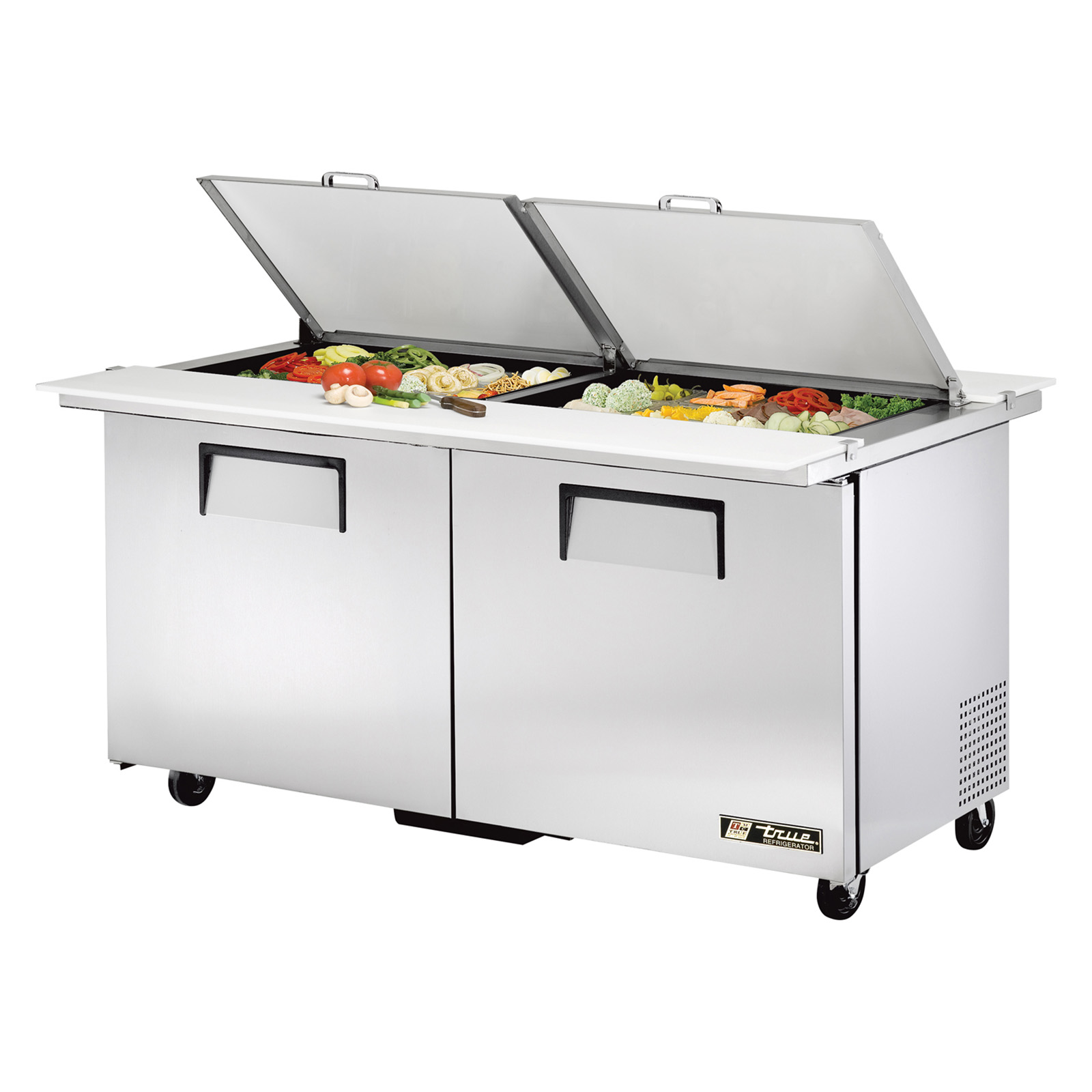 TSSU-60-24M-B-DS-ST True - Dual Side Mega Top Sandwich/Salad Unit (24) 1/6 size (4