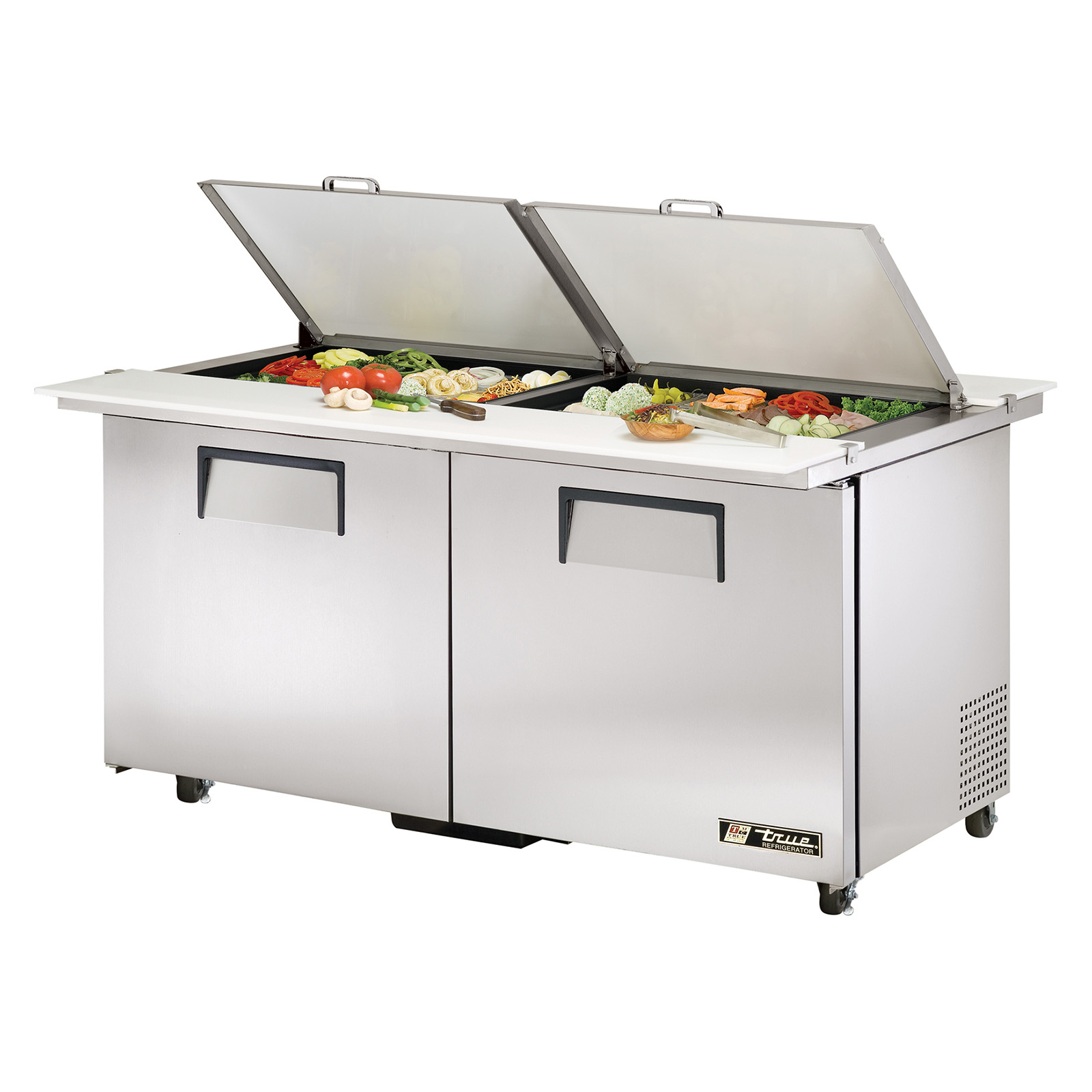 TSSU-60-24M-B-DS-ST-ADA True - ADA Compliant Dual Side Mega Top Sandwich/Salad Unit (24) 1/6 (4
