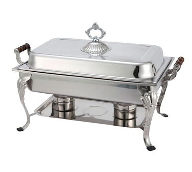 408-1 Winco - Crown Chafer, 8 quart, full size, oblong, with dome cover, 18/8 stainless steel