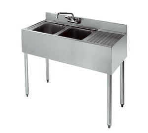 KR18-42L Krowne Metal - Royal 1800 Series Underbar Sink Unit two compartment