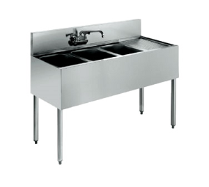 KR18-43L Krowne Metal - Royal 1800 Series Underbar Sink Unit three compartment