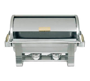 RTC-8 Update International - Gold Accented 90 Degree Roll Top Chafer 8 QT.- Oblong