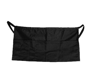 "WAP-BK Update International - Waist Apron, 23"" x 12"", 4 pocket, 65% polyester/35% cotton, black"