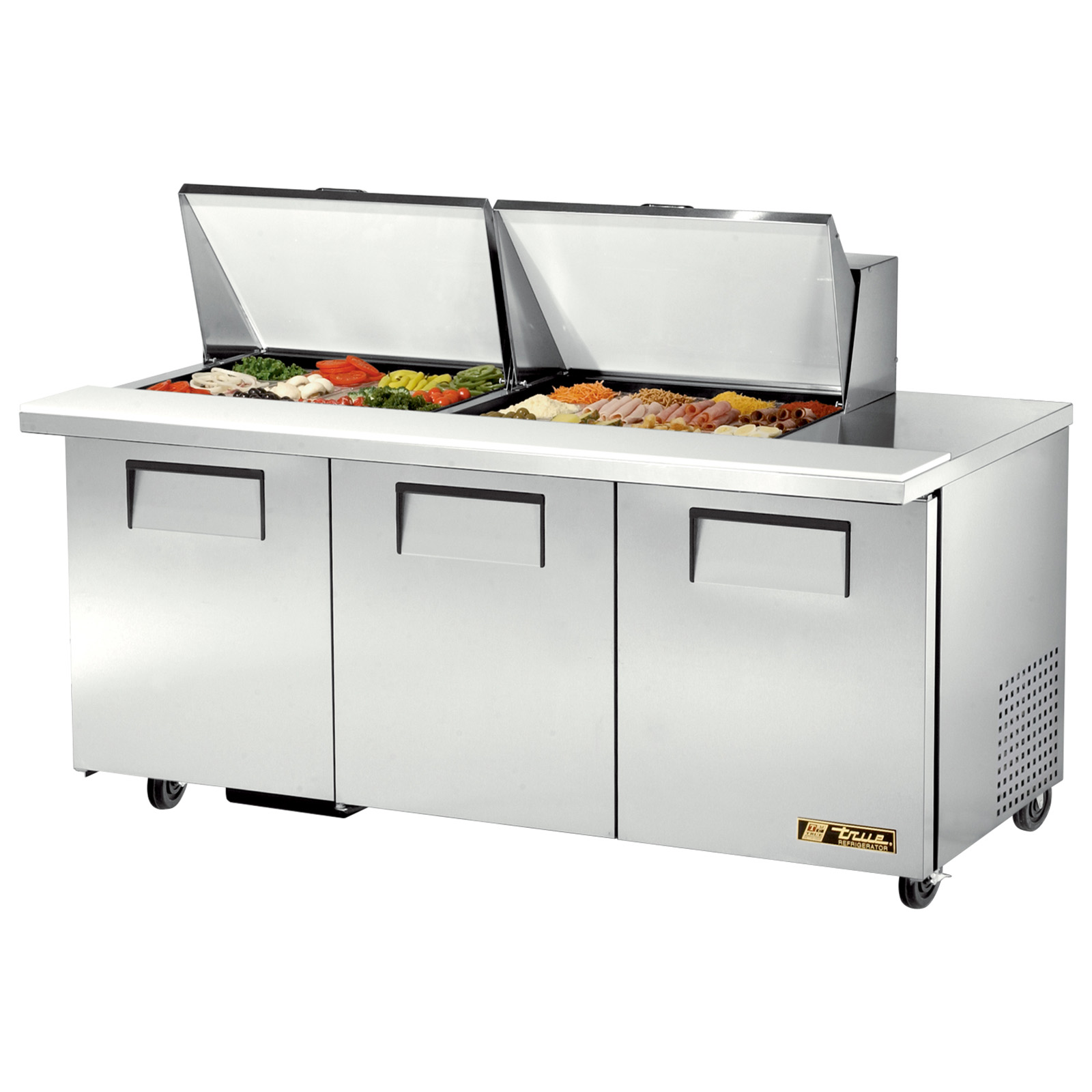 TSSU-72-24M-B-ST True - Mega Top Sandwich/Salad Unit (24) 1/6 size (4