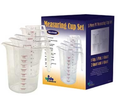 MEA-PC/SET Update International - Measuring Cup Set, 5-piece set (1 cup, 1 pint, 1, 2 & 4 quart cups)