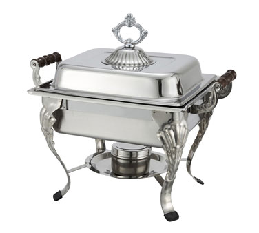 508 Winco - Crown Chafer, 4 quart, half size, oblong, with dome cover, 18/8 stainless steel
