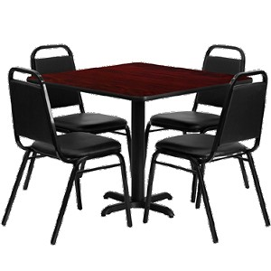 "HDBF1010 Flash Furniture - HDBF1010-GG Table & Chair Set (1) square 36"" x 36"" mahogany laminate table top with x-base (4) stackable banquet chairs with black vinyl seat"