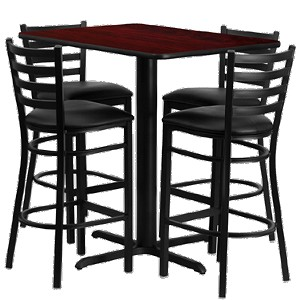 "HDBF1018 Flash Furniture - HDBF1018-GG Table & Chair Set (1) rectangular 24"" x 42"" mahogany laminate table top with x-base (4) ladder back bar stools with black vinyl seat"