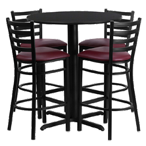 "HDBF1025 Flash Furniture - HDBF1025-GG Table & Chair Set (1) round 30"" black laminate table top with x-base (4) ladder back bar stools with burgundy vinyl seat"