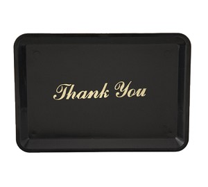 "TT-46 Winco - Tip Tray, ""Thank You"", 4-1/2"" x 6-1/2"", gold imprint"