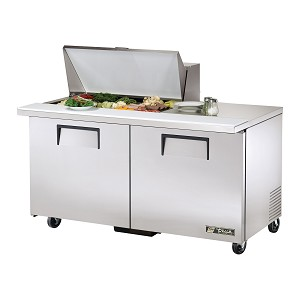 "TSSU-60-15M-B True - Mega Top Sandwich/Salad Unit (15) 1/6 size (4""D) poly pans"