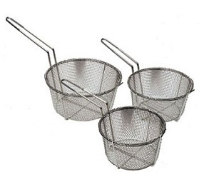 "FB-9 Update International - Fry Basket, round, 9-1/2"" dia., 5-1/2""H, 7-1/2"" handle nickel plated"