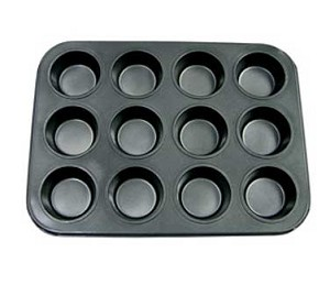 "MPNS-12 Update International - Muffin/Cup Cake Pan, 12 cup, 13-7/8""W x 10-1/2""D x 1-1/8""H, non-stick"