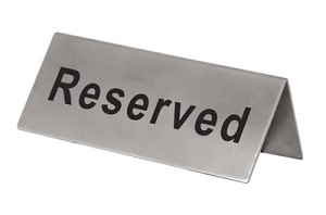 "RES-5/SS Update International - Sign, ""Reserved"", 2"" x 4-3/4"", stainless steel"